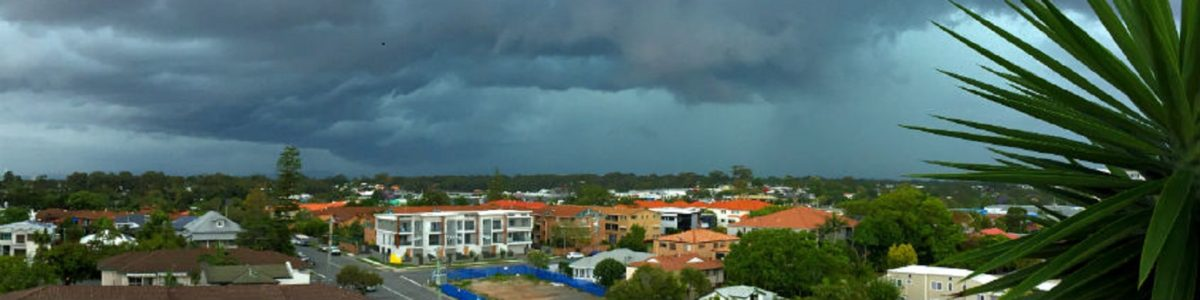 Storm approaching residential suburb in Queensland