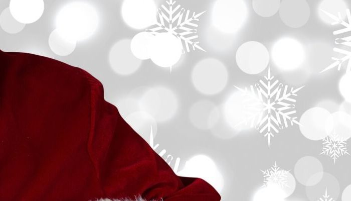 Santa with present banner